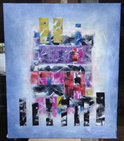 "Barbara Rabkin Art Studio: ""Sanctuary"" multimedia collage silk, oil, acrylic on canvas 47x40""©"