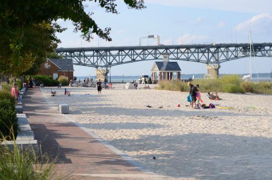 Yorktown Beach Looking Toward The Northwest Pedestrian Walkway On Left