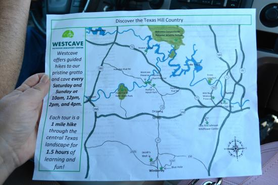 Westcave Outdoor Discovery Center : Map of the area attractions