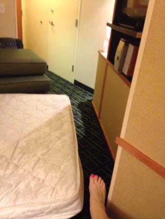 Fairfield Inn & Suites Worcester Auburn: Some perspective on the tight squeeze between the sofa bed and wall