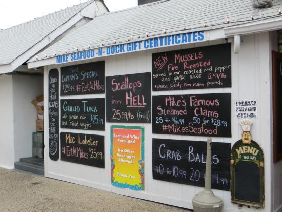 Ocean View Resort Campground: Menu chez Mike's Dock à Sea Isle City