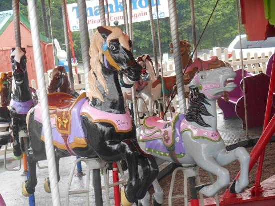 Two horses on the carousel at Memphis Kiddie Park in Cleveland area