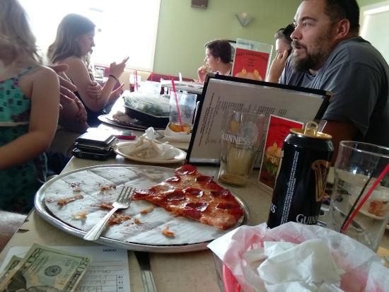 Quonset Pizza: nearly decimated pizza