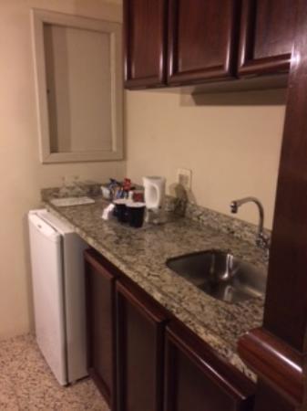 Mercure Prinz Joinville: Vista da entrada do quarto. Uma mini cozinha.