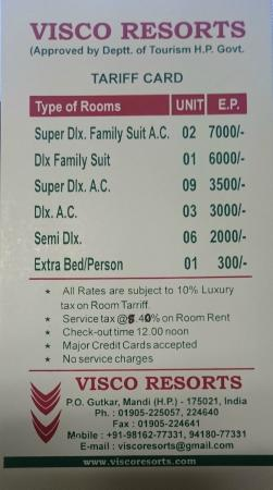 Hotel Tariff Card Picture Of Visco Resorts Mandi