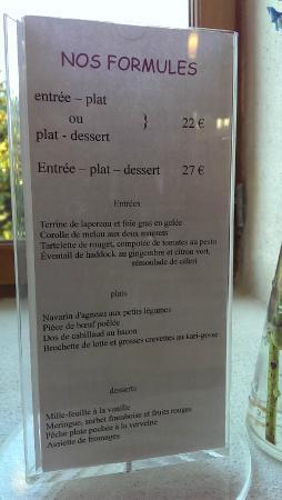 Moulin de Cochelin : menu