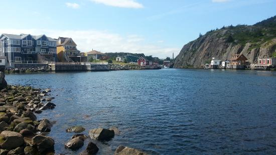 Quidi Vidi Battery: Look back from the water.