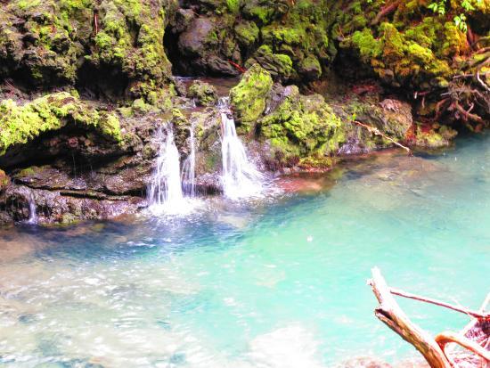 New Aiyansh, Kanada: Water seeping from below Vetter Falls.