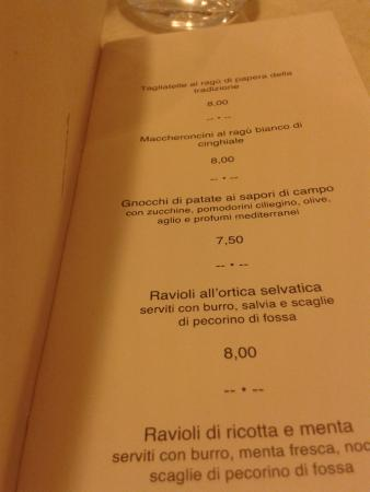 Ponti Oscuri - La Hostaria: menù