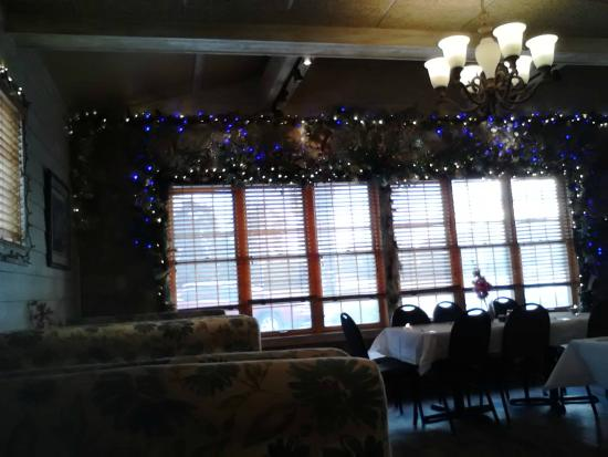 Shucker's Pier 13: Interior lights decorating the restaurant