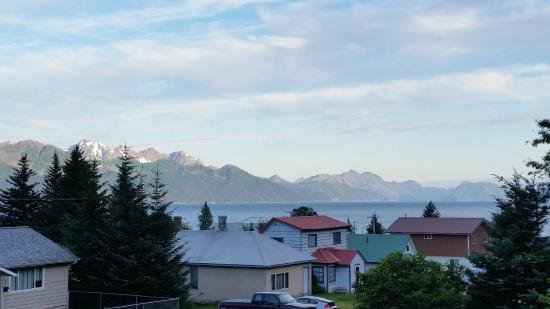 Brass Lantern B & B : View from upper porch of Resurrection Bay. 8:45 pm.