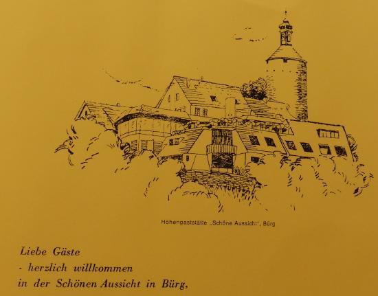 Gemalte Burgansicht Hotel Restaurant Schone Aussicht Picture Of