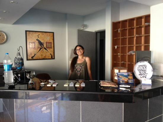 Golden Moon Hotel: The reception and receptionist.