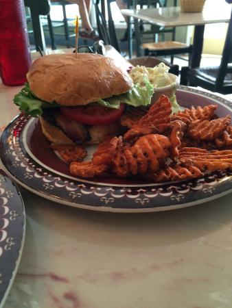 Ice House BBQ: Burger with Sweet Potato Fries