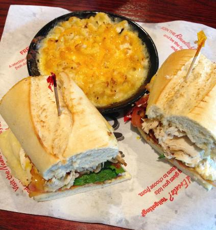 Newk S Eatery Grilled Chicken Sandwich With A Side Of The Best Mac And Cheese