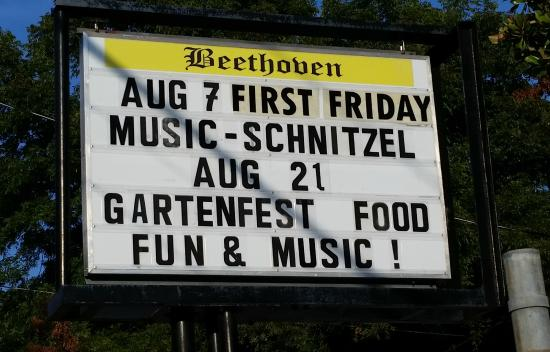 Beethoven Home and Garden: Take notice of the event sign.