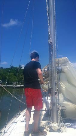 New Moon Sailing : Raising the sail.