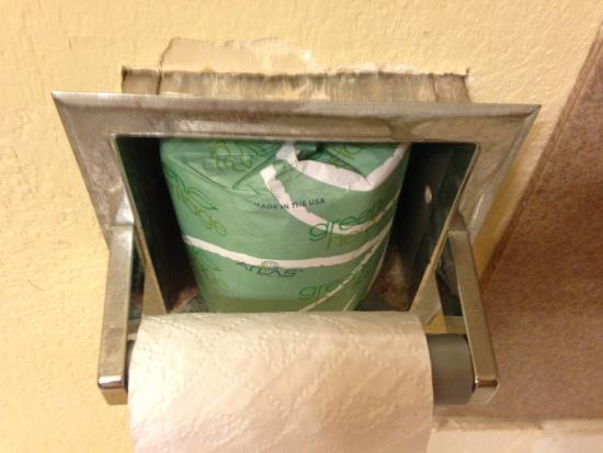 Jackson Hotel & Convention Center: Toilet paper holder falling out of wall