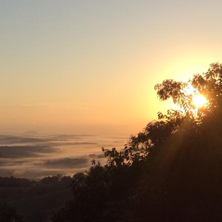 Treetops Montville: Sunrise from the kingfisher cabin at treetops Seaview