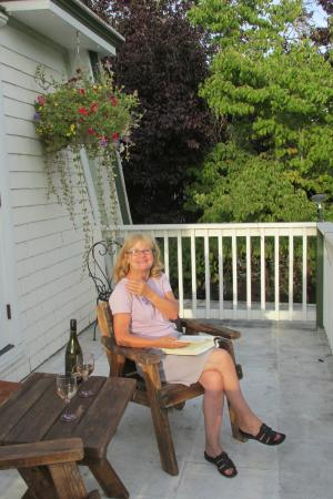 Twisted Willow Inn: My wife on the balcony of our room