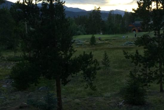 The Pines Condominiums: Peaceful evening view from the patio.