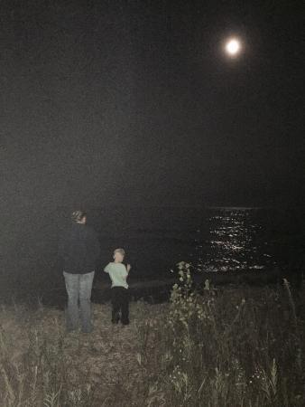 Harrisville State Park: A beautiful moon next to a beach front camp site