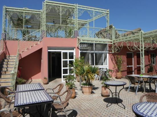 Fes, Hotel Bab Boujloud, 2 tier roof terrace.