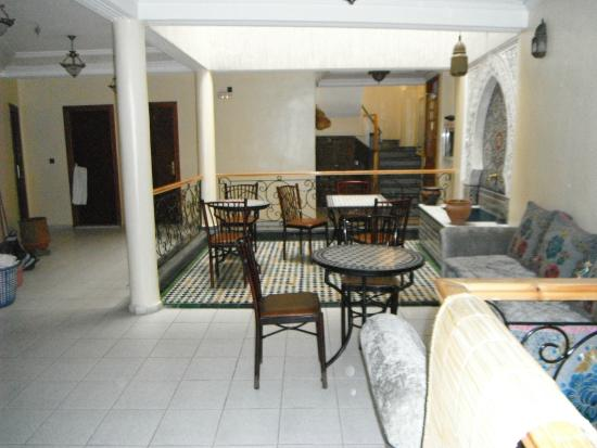 Fes, Hotel Bab Boujloud, elegant interior.