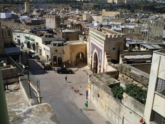 Fes, Hotel Bab Boujloud, view of Medina gate from roof terrace