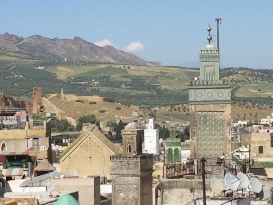 Fes, Hotel Bab Boujloud, view of Medina from roof terrace.