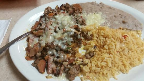 Joelton, TN: Alhambre-dish with beef, ham, chorizo, and cheese-delicious!