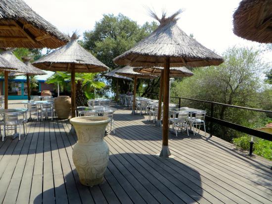 Camping U Libecciu : la terrasse du bar