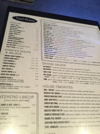 yard house restaurant menu