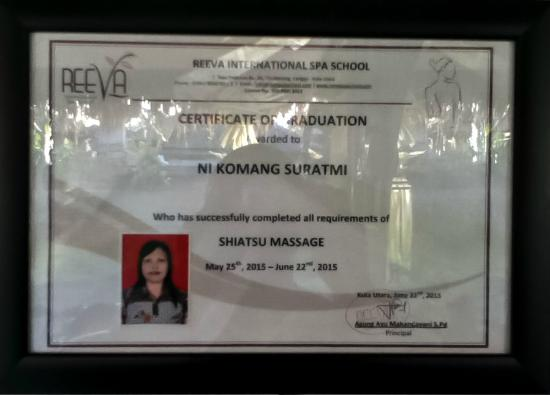 canggu spa massage shiatsu:at spa manis komang is graduate for shiatsu