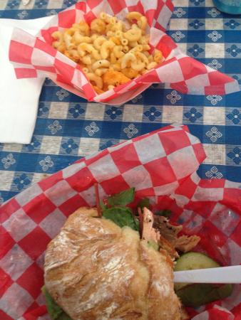 White Tiger Gourmet : Mac N Cheese $3 as a side & Salmon Ciabatta $8.75