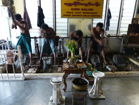 King Galon Gold Leaf Workshop: men at work pounding the gold