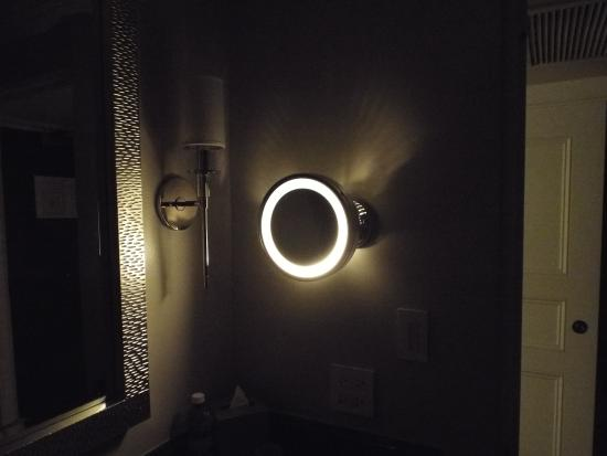 Bathroom Swing Out Makeup Mirror With Light Used As Night Light