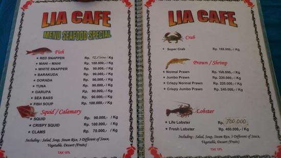 Lia Cafe Jimbaran Menu