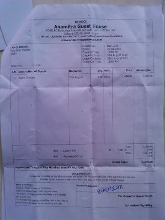 indian hotel bill receipt