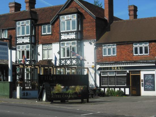 Brambletye Hotel: Front of the hotel, and the Bar