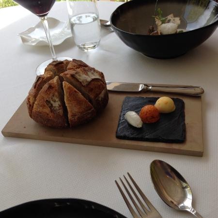 Wonderful bread with trio of butters