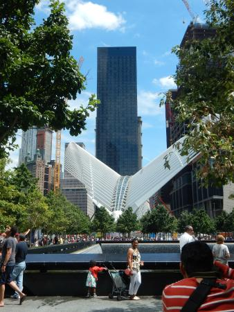 Millennium Hilton New York Downtown: View of Millenium hotel from WTC memorial.