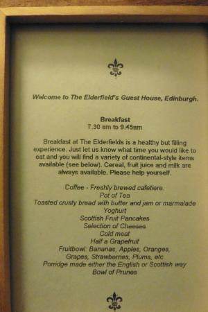 Elderfields Guest House: Colazione