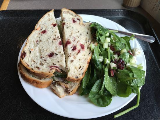 Minnesota Landscape Arboretum: Veggie sandwich on cranberry and wild rice bread with spinach salad