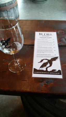 J.R. Dill Winery: The sweet wine tasting list at J.R. Dill.