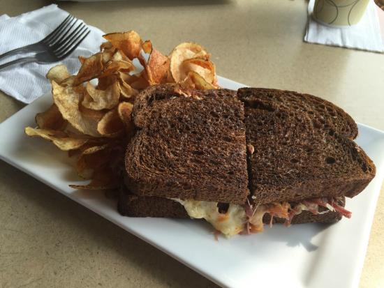 Belle Plaine, MN: Grilled Reuben sandwich with homemade potato chips