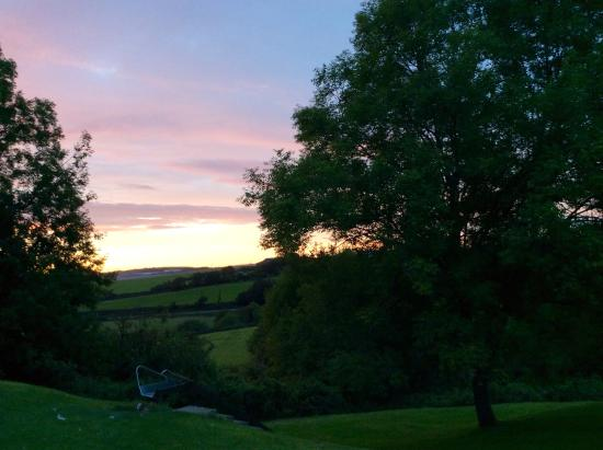 Crooked Inn: View at sunset from the conservatory