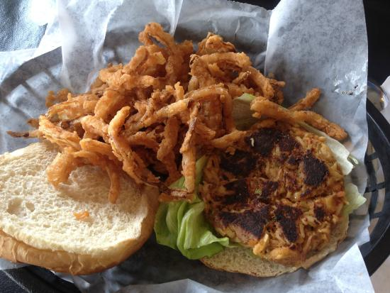 Cross, SC: Crab cake sandwich (overcooked) but good onion straws.
