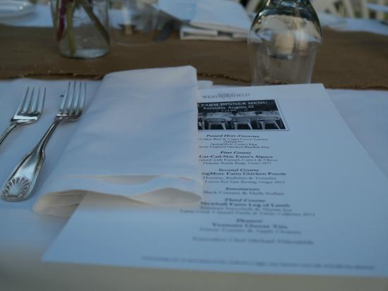 ‪‪The Inn at Weathersfield‬: 2015 Farm Dinner place setting‬