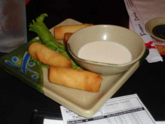 Fusion Point Spring Rolls We Had Ginger Sauce With Ours Yum